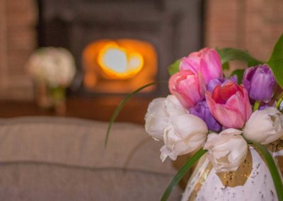 Flower Base in fireplace, Magnolia Place Bed & Breakfast, Finger Lakes, NY